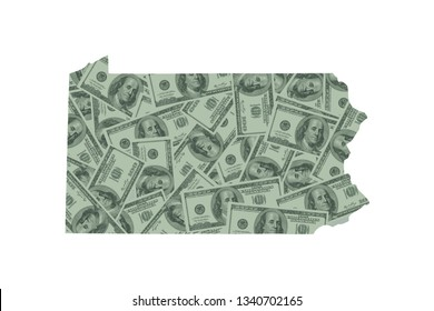 Pennsylvania Budget and Money Concept, Hundred Dollar Bills