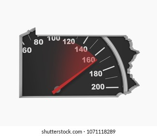 Pennsylvania PA Speedometer Map Fast Speed Competition Race 3d Illustration