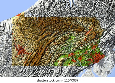 Pennsylvania. Shaded relief map.  Shows surrounding ocean, major urban areas and rivers.  Colored according to relative elevation. Clipping path for state area included.