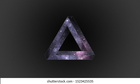 Penrose impossible triangle with outer space inside.