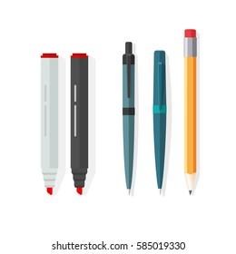 Pens, pencils, markers set isolated on white background, ballpoint pens, lead orange dot biro pen with red rubber eraser, flat style pencil, stationery set cartoon illustration design