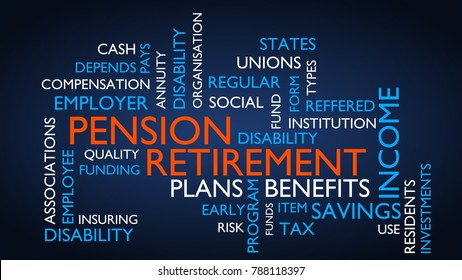 Pension, retirement word tag cloud. 3D rendering, blue variant.
