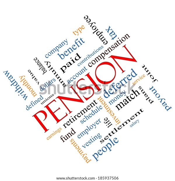 Pension Word Cloud Concept angled with great terms such as benefit, deferred, retirement and more.