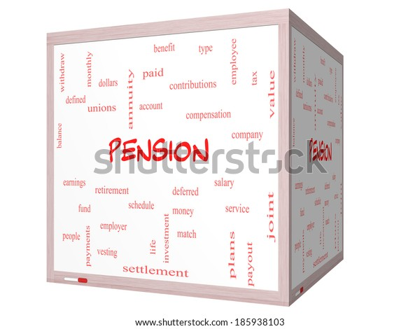 Pension Word Cloud Concept on a 3D cube Whiteboard with great terms such as benefit, deferred, retirement and more.