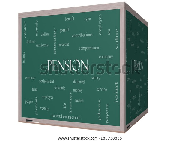 Pension Word Cloud Concept on a 3D cube Blackboard with great terms such as benefit, deferred, retirement and more.