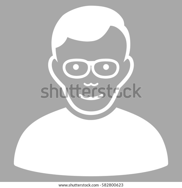 Pensioner glyph icon. Flat white symbol. Pictogram is isolated on a silver background. Designed for web and software interfaces.