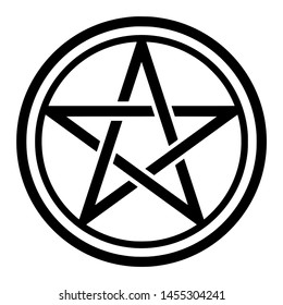 Pentacle symbol icon in a circle