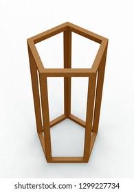 Pentagon, Leonardo da Vinci, Divina Proportione/289. 3D model