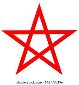 Pentagram blood red runic spell circle. Satanic sign, Magic casting ring. Pentalpha, Pentangle, illustration
