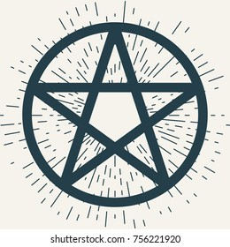 Pentagram icon, magic occult star symbol with rays of light. Illustration in dark blue isolated over white.