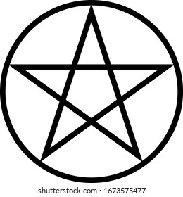 Pentagram isolated occultism star symbol in a circle. Occultism, halloween.