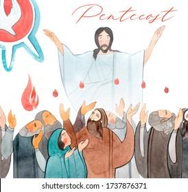 Pentecost. Christian watercolor illustration of the Resurrection, Pentecost, Descent of the Holy Spirit. Catholic background. Orthodox. Jesus Christ. Apostles.