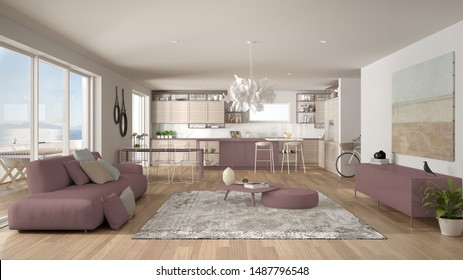 Penthouse living room and kitchen interior design, lounge with sofa and carpet, dining table, island with stools, parquet. Modern minimalist white and red architecture concept idea, 3d illustration