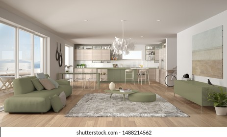 Penthouse living room and kitchen interior design, lounge with sofa and carpet, dining table, island with stools, parquet. Modern minimalist white and green architecture concept idea, 3d illustration
