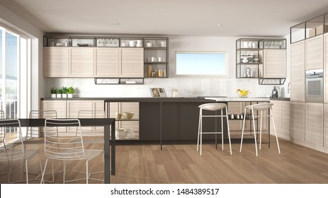 Penthouse minimalist kitchen interior design, lounge with sofa and carpet, dining table, island with stools, parquet. Modern contemporary white and gray architecture concept idea, 3d illustration