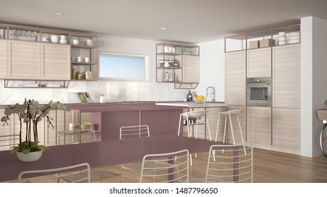 Penthouse minimalist kitchen interior design, lounge with sofa and carpet, dining table, island with stools, parquet. Modern contemporary white and red architecture concept idea, 3d illustration