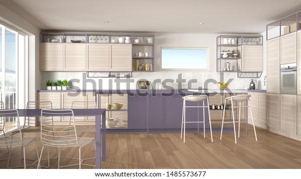 Penthouse Minimalist Kitchen Interior Design Lounge Stock Illustration 1485573677