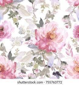 Peonies bouquet seamless pattern. Watercolor painting.