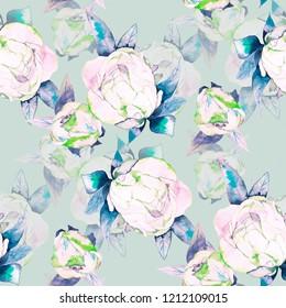 Peonies Flowers watercolor illustration pattern