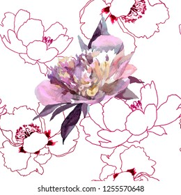 Peonies grapics and watercolor pink on white background seamless pattern for all prints on hand drawing style.