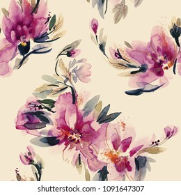 Peonies Seamless Pattern. Watercolor Background. Hand Painted Illustration.