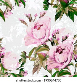 Peonies seamless   pattern,flowers watercolor illustration.Image on white and colored background.