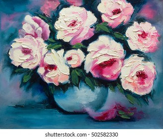 Peonies in a vase, original oil painting on canvas