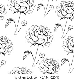 Peony backdrop. Hand drawn seamless pattern with sketch style flower peony. Black on white background.