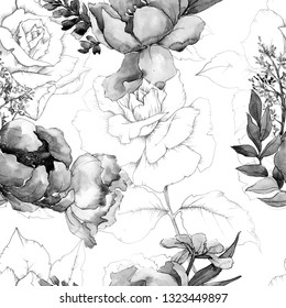 Peony bouquets floral botanical flower. Wild spring leaf isolated. Watercolor illustration set. Watercolour drawing fashion aquarelle. Seamless background pattern. Fabric wallpaper print texture.