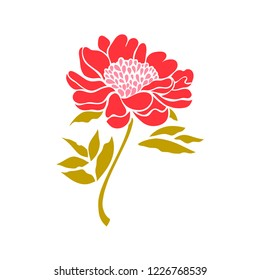 Peony. Flower isolated on white background. Raster copy.