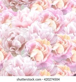 Peony flowers seamless pattern.