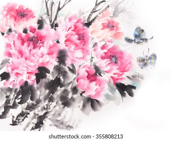 peony flower,Traditional chinese ink and wash painting.