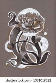 Peony. Hand drawn graphitti stylised illustration of Flower.