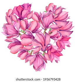 Peony heart. Wedding watercolor flowers. Pink magnolia. Isolated on a white background. Flower heart - flowers of pink magnolias. Watercolor for valentine's day, wedding