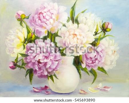 Peony Pink Flowers White Vase Oil Stockillustration 545693890