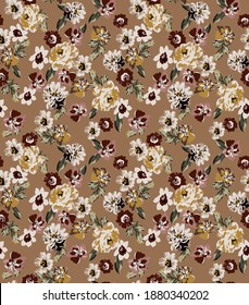 Peony and roses small flowers seamless pattern fabric print texture and vintage leaves with colorful floral elements and camel color background.
