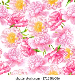 Peony watercolor seamless pattern flowers with leaves. Hand drawn illustration