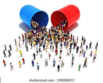 People with addictions to pills concept.Large group of people walking towards and into an open pill capsule medication or drug on a white isolated background. 3d rendering