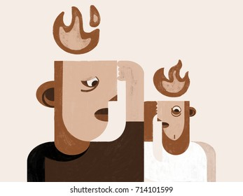 People anxiety stress disorder. Illustration. Anxiety concept, flames above heads.