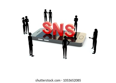 people around smartphone word sns concept 3d illustration