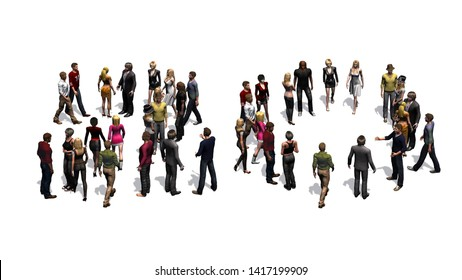 People - arranged in number 20 - with shadow - isolated on white background - 3D illustration