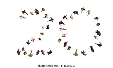 People - arranged in number 20 - top view without shadow - isolated on white background - 3D illustration