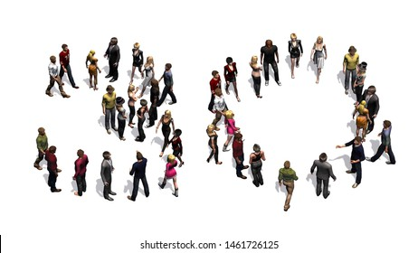 people - arranged in number 30 - with shadow - isolated on white background - 3D illustration