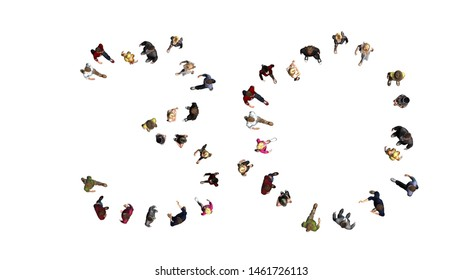 people - arranged in number 30 - top view without shadow - isolated on white background - 3D illustration