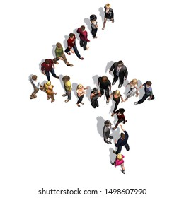 people - arranged in number 4 - with shadow - isolated on white background - 3D illustration