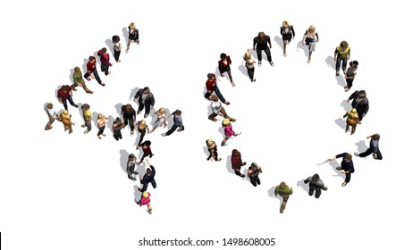 people - arranged in number 40 - with shadow - isolated on white background - 3D illustration