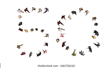 people - arranged in number 50 - top view without shadow - isolated on white background - 3D illustration