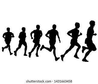 People athletes on running race on white background