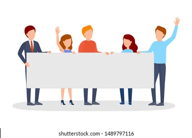 People with banner on demonstration. Person with blank poster on protest. Activist collection. Isolated flat illustration
