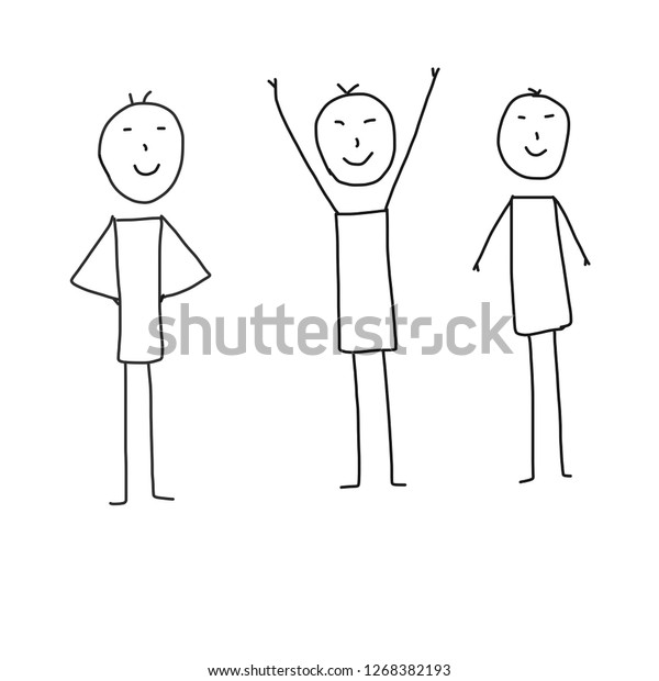 People Basic Drawing Illustration Cartoon Stock Illustration 1268382193